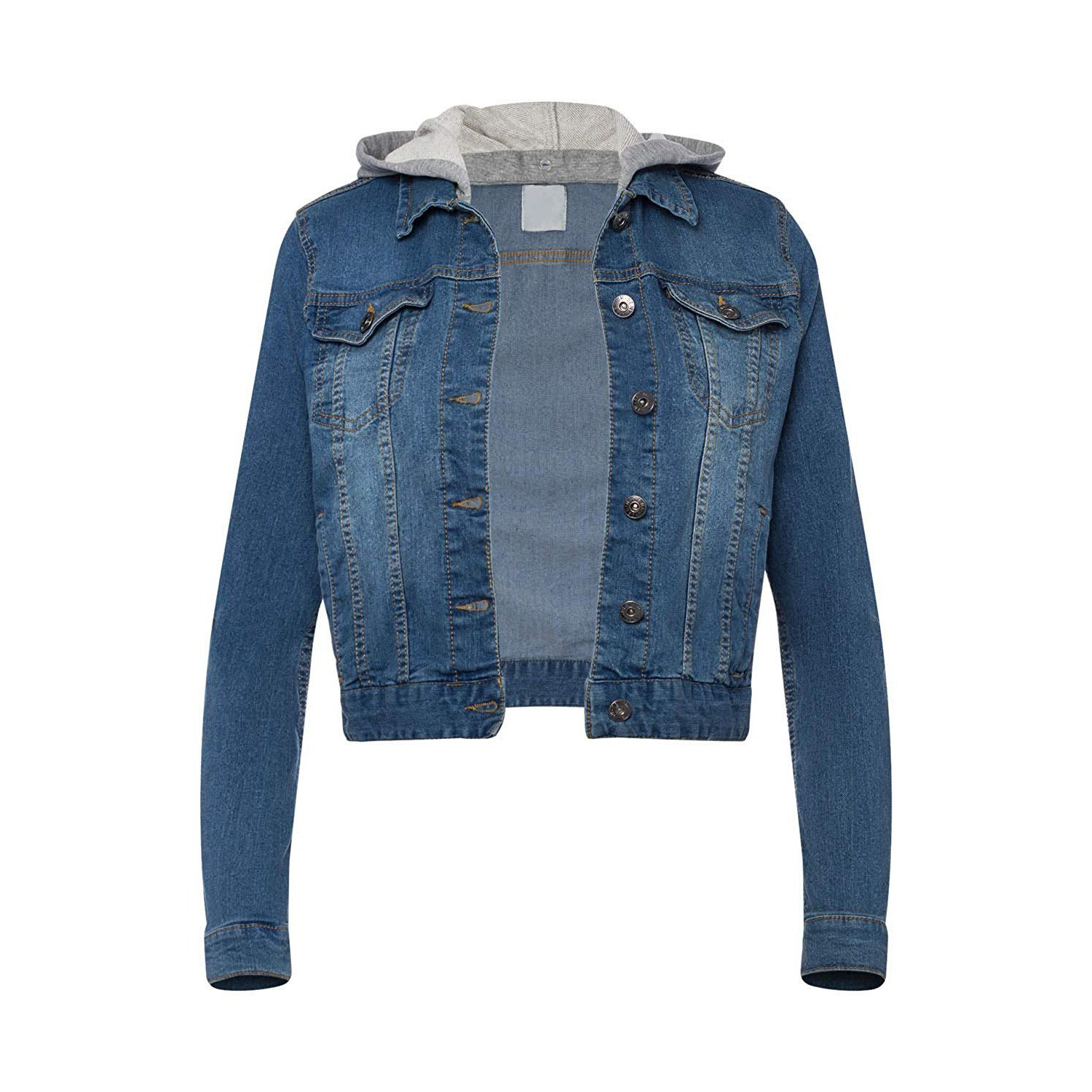 Women Long Knit Sleeve Slim Fit Fashion with Hoodie Jeans for Denim Jackets pictures & photos