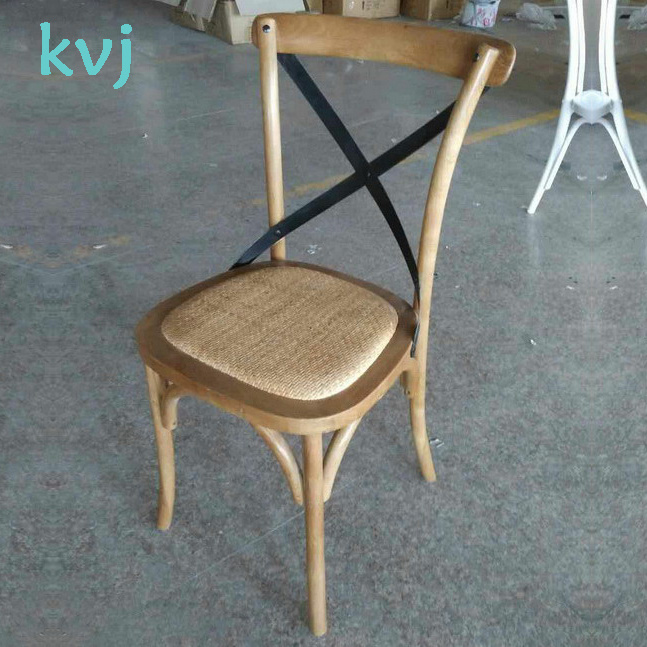 French Style Solid Oak Wood Stackable Cross Back Wedding Banquet Chair (RCH-4001-5)