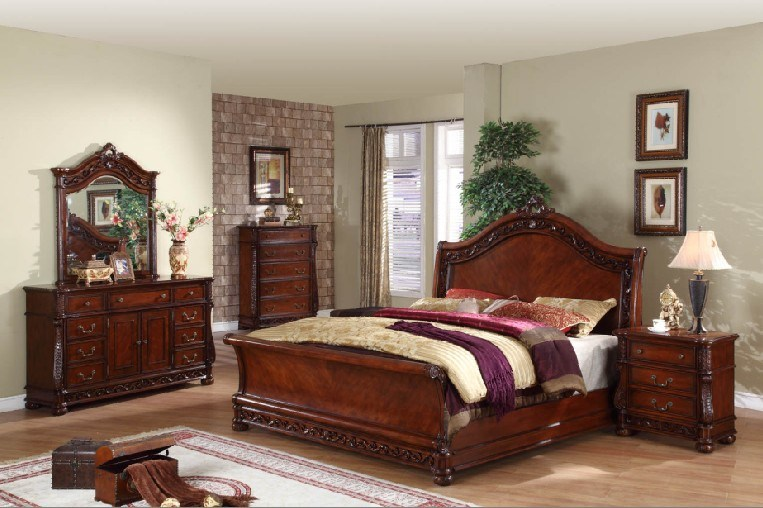 [Hot Item] Antique Solid Wood Bedroom Sets (HDB005)