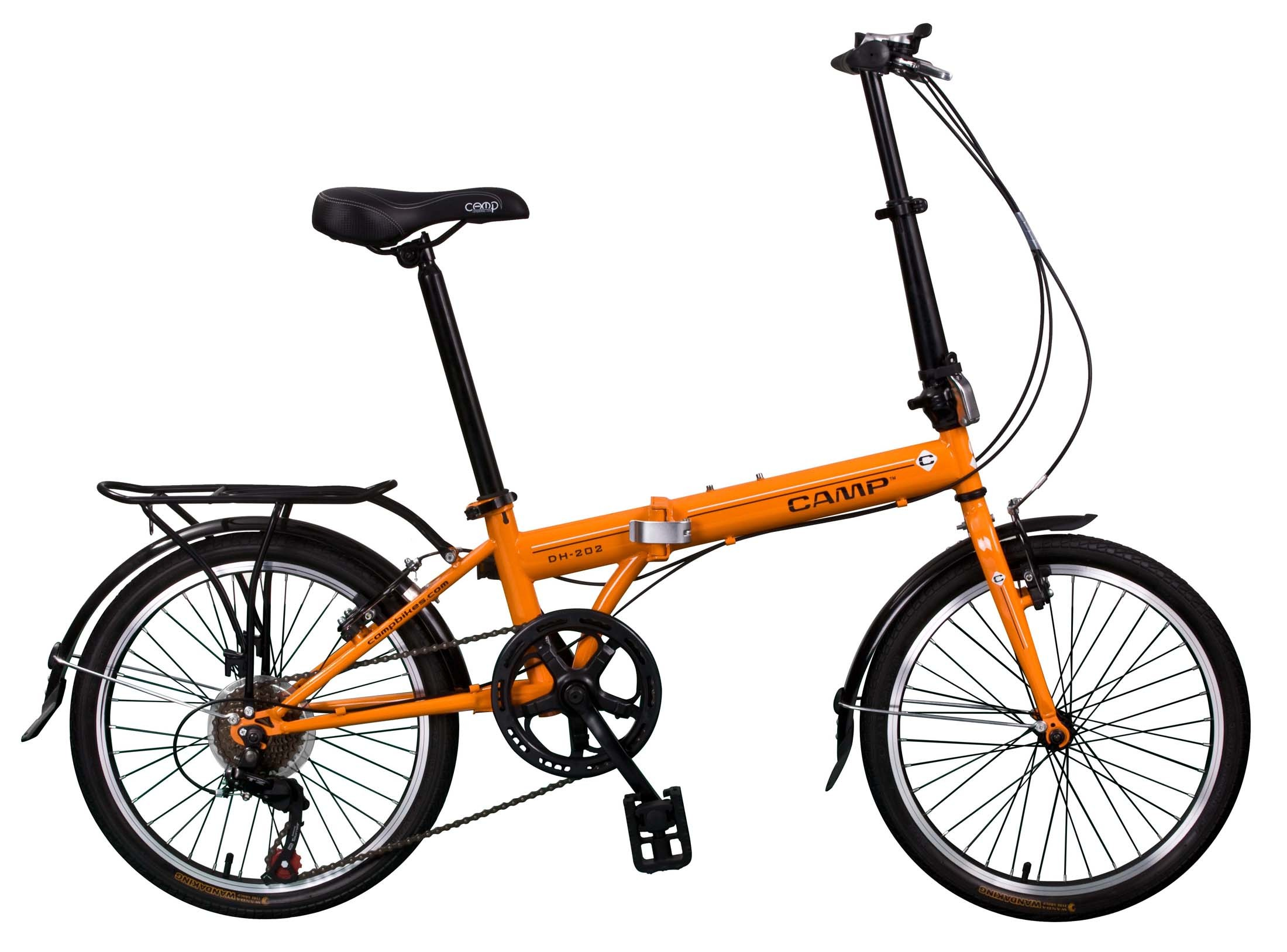 orange folding bike on a white background