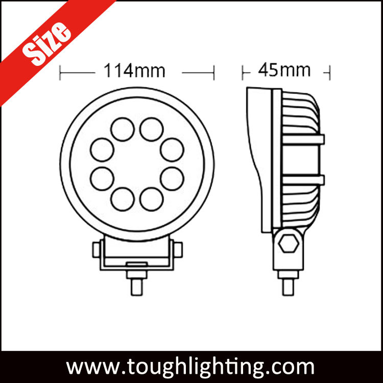 China Offroad 4 Inch Round Ip67 Waterproof 24w Led Tractor Work Lamp