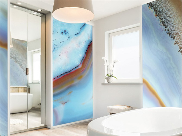 China Bathroom Wall Art Panel Blue Geode Agate Glass China Building Glass Glass Wall Panel