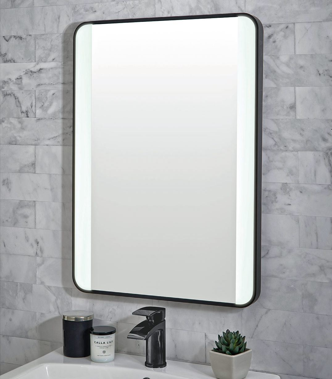 China Decorative Wall Mounted Black Metal Frame Bathroom Lighted 5000k Led Mirror China Led Mirror Led Bathroom Mirror