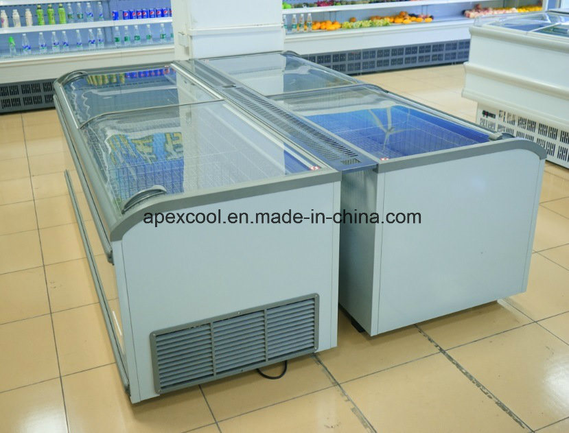 China 700 1200 Liters Curved Glass Lid Energy Saving Island Freezer Chest Ice Cream