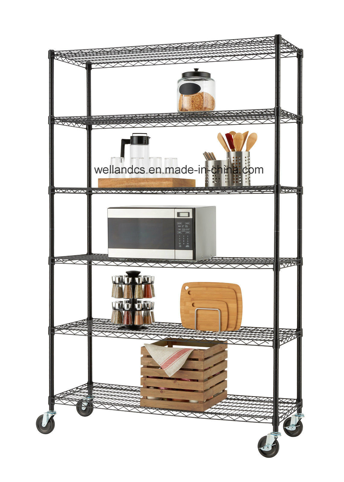 Mobile Wire Rack | China Mobile 6 Shelf Heavy Duty Industrial Kitchen Equipment Metal
