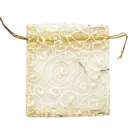 china gold sheer organza used as wedding favor bags bathroom soaps