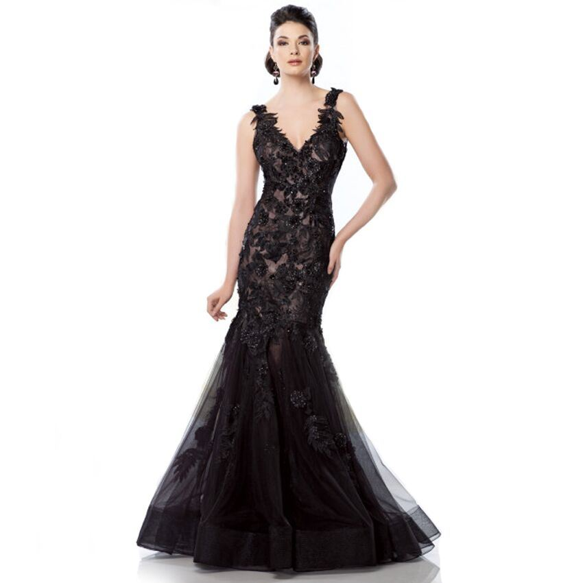 6c95518cf5 Black Lace Mother of The Bride Dresses Mermaid Prom Formal Evening Dress B28