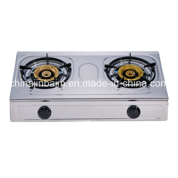 China 2 Burners Stainless Steel High Type 120 Br Burner Cap Gas Cooker Stove