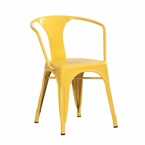 Yellow Color Stackable Metal Tolix Cafe Chair With Armrest (FS D506)