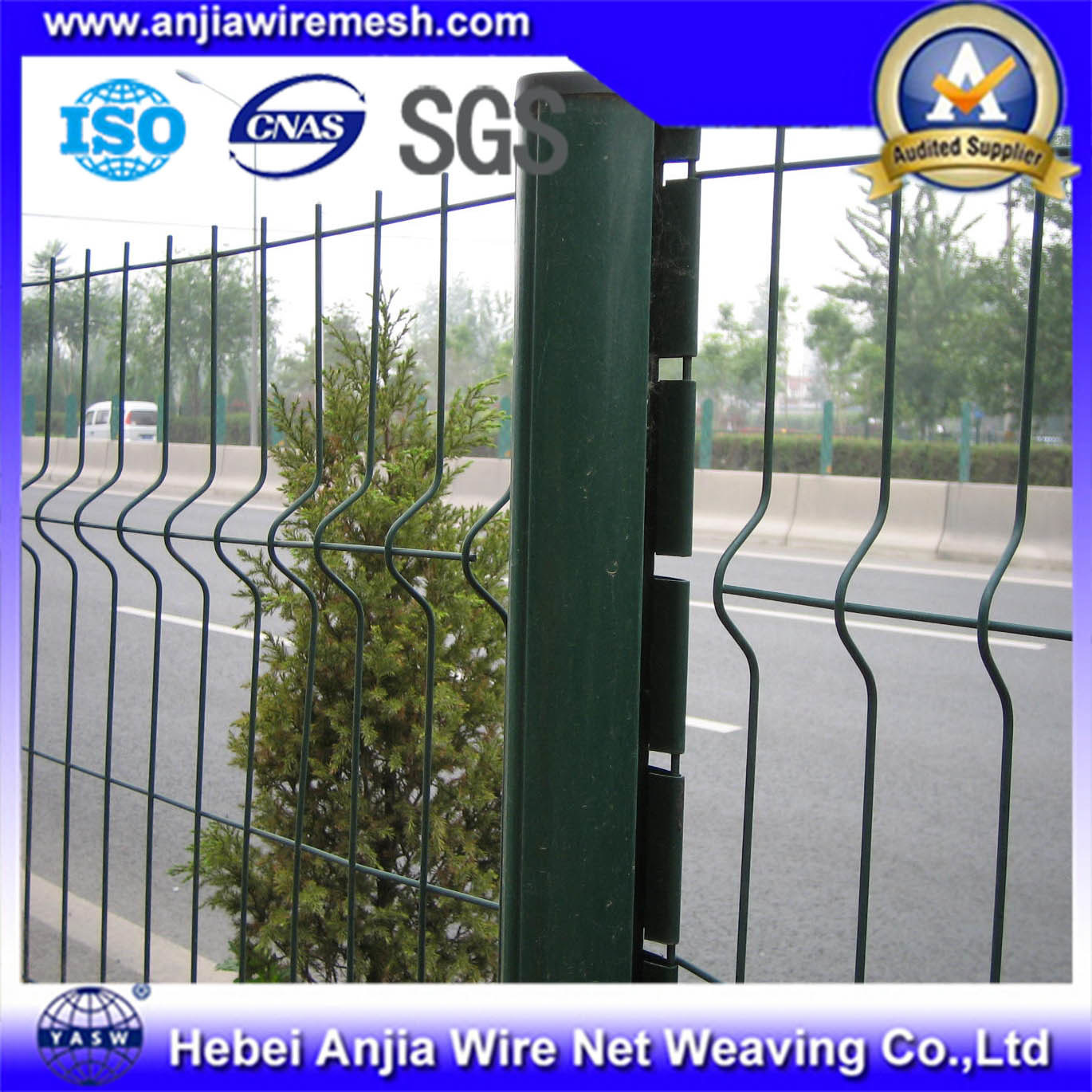China PVC Coated Galvanized Welded Wire Mesh Fence Highway Security ...