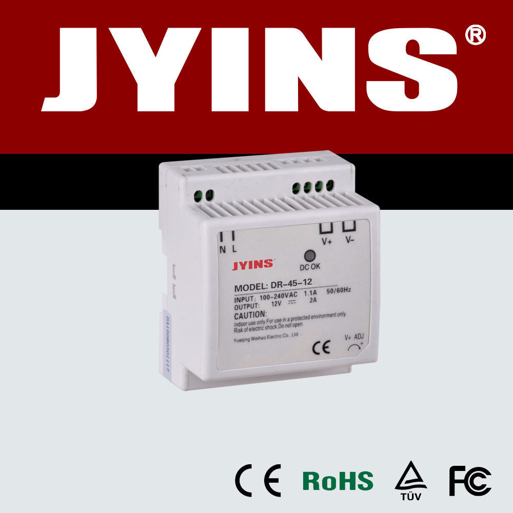 China Din Rail Type 45w Switching Power Supply Built In Emi Filter With Overload Short Circuit