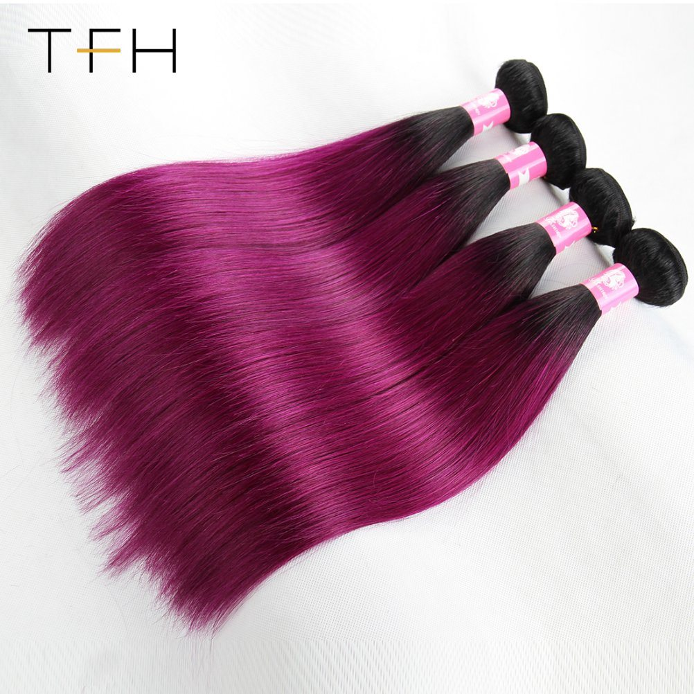 China Brazilian Virgin Human Omber Color Hair Weave 1bpurple Remy