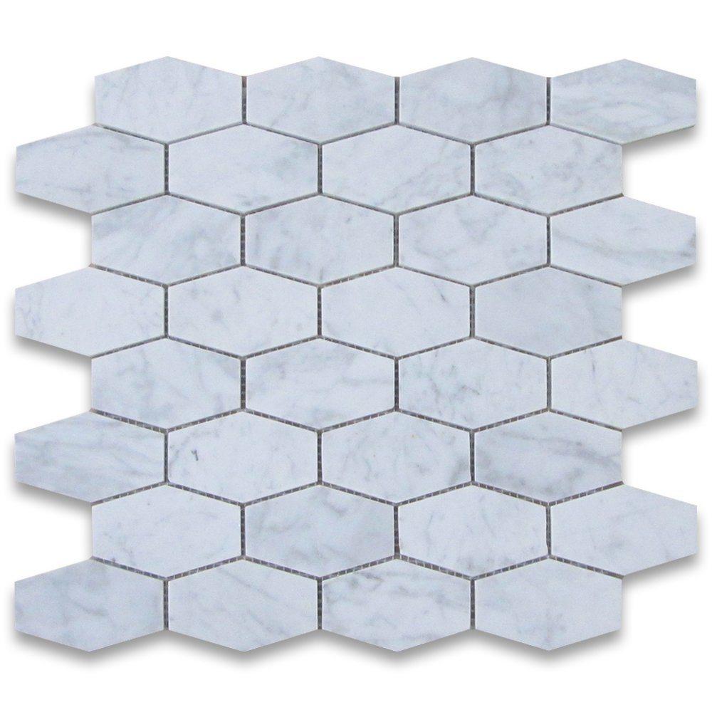 China 2015 New Design Carrara White Long Hexagonal Marble Mosaic ...
