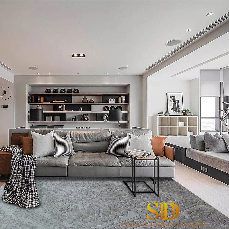 [Hot Item] Light Color Vintage/Flora Pattern Handmade Wool Carpet Tiles  Under Sofa in Living Room