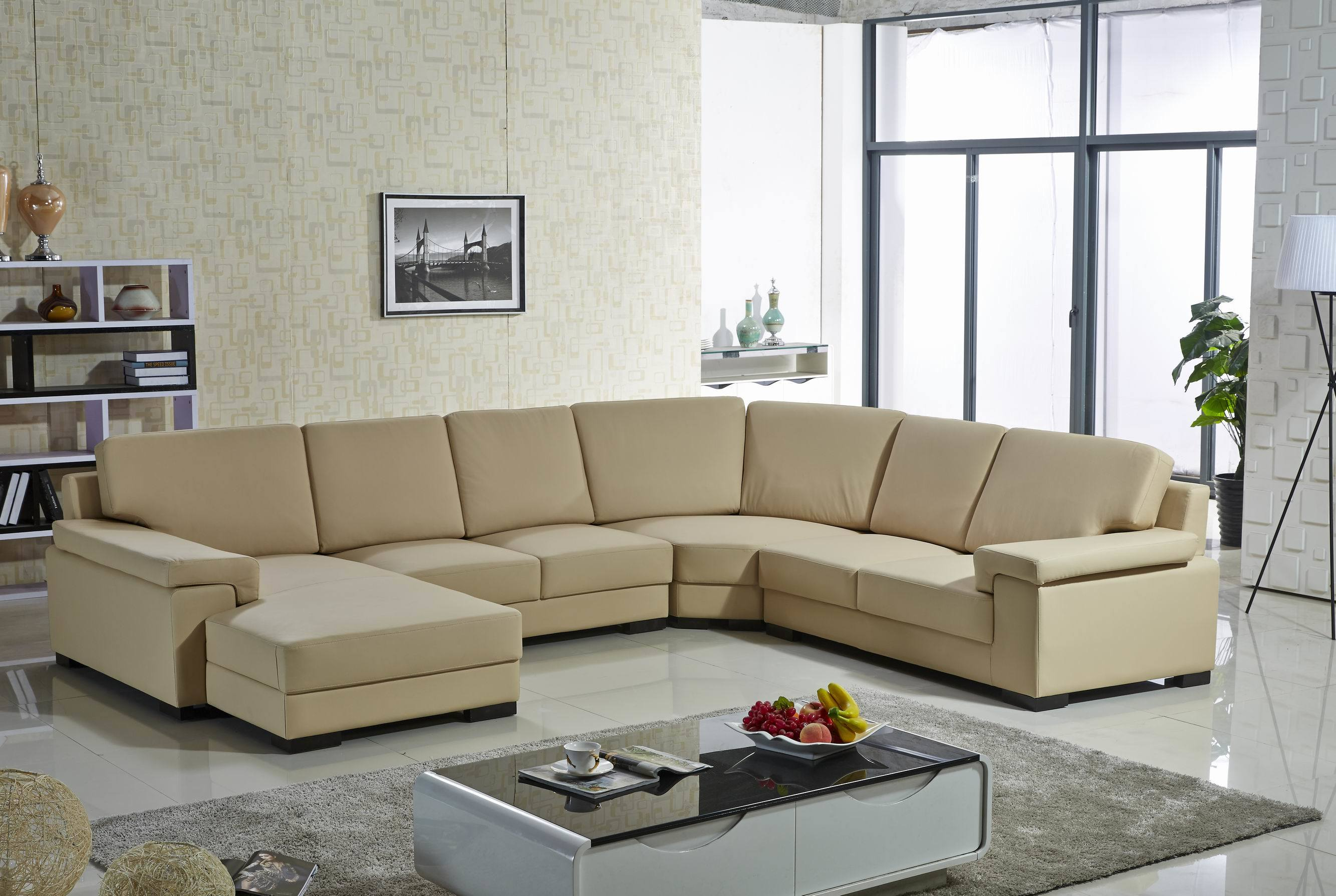 [Hot Item] L Shape U Shape Big Corner Home Villa Living Room Hotel Lobby  Full Leather Hoem Furniture Sofa Confortable Sofa Set Living Room Sofa ...
