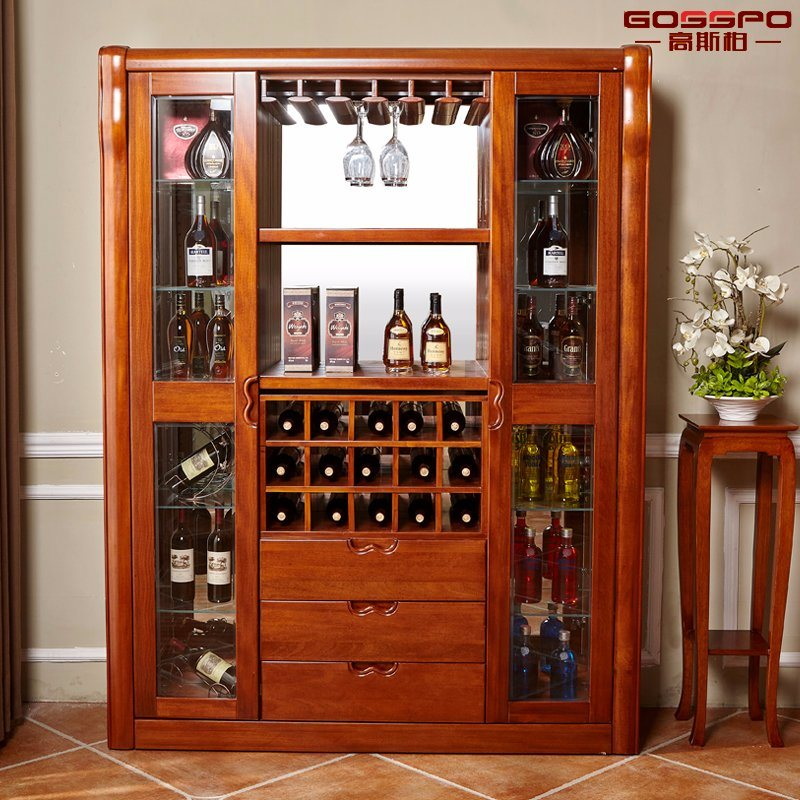 China Practical Style Solid Mahogany Wooden Wine Cabinet Gsp9 053