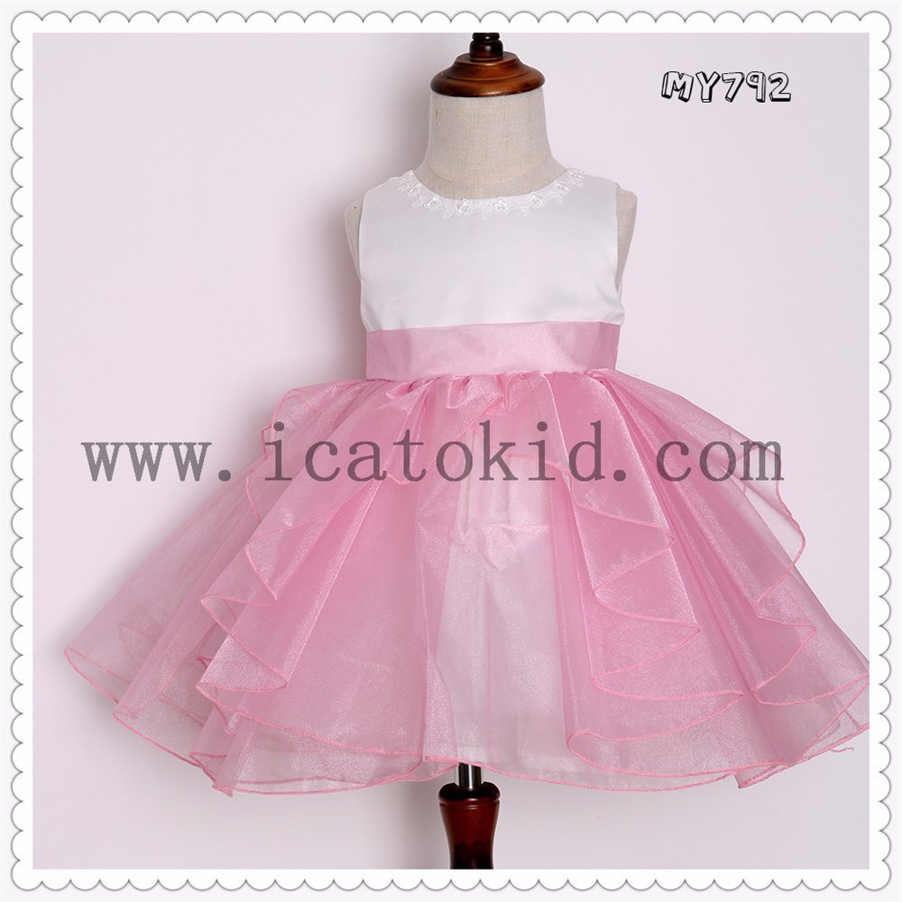 China Hot Sale Beautiful Baby Girl Dress Pink Children Party Dresses ...