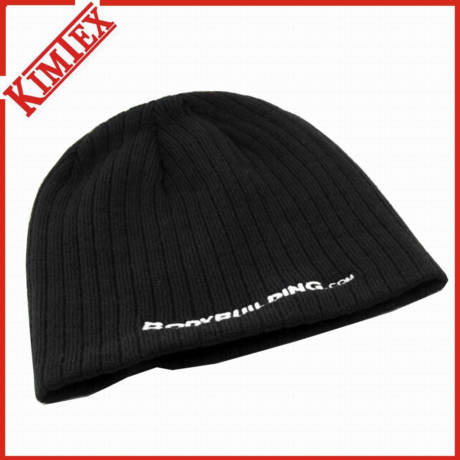 100% Acrylic Knitted Embroidery Promotion Skull Cap