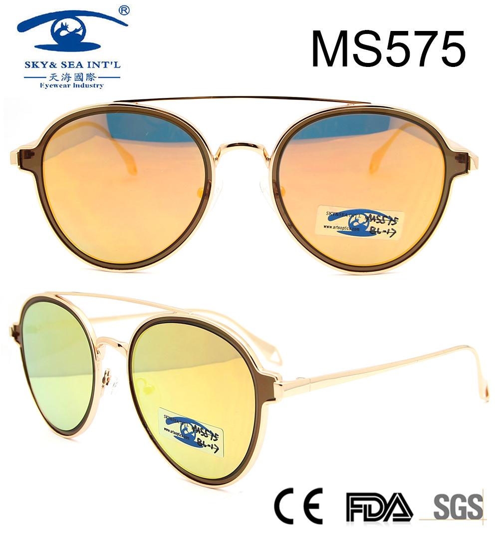 27d0286dc1b China 2017 Popular Round Shape Double Bridge Women Metal Sunglasses ...
