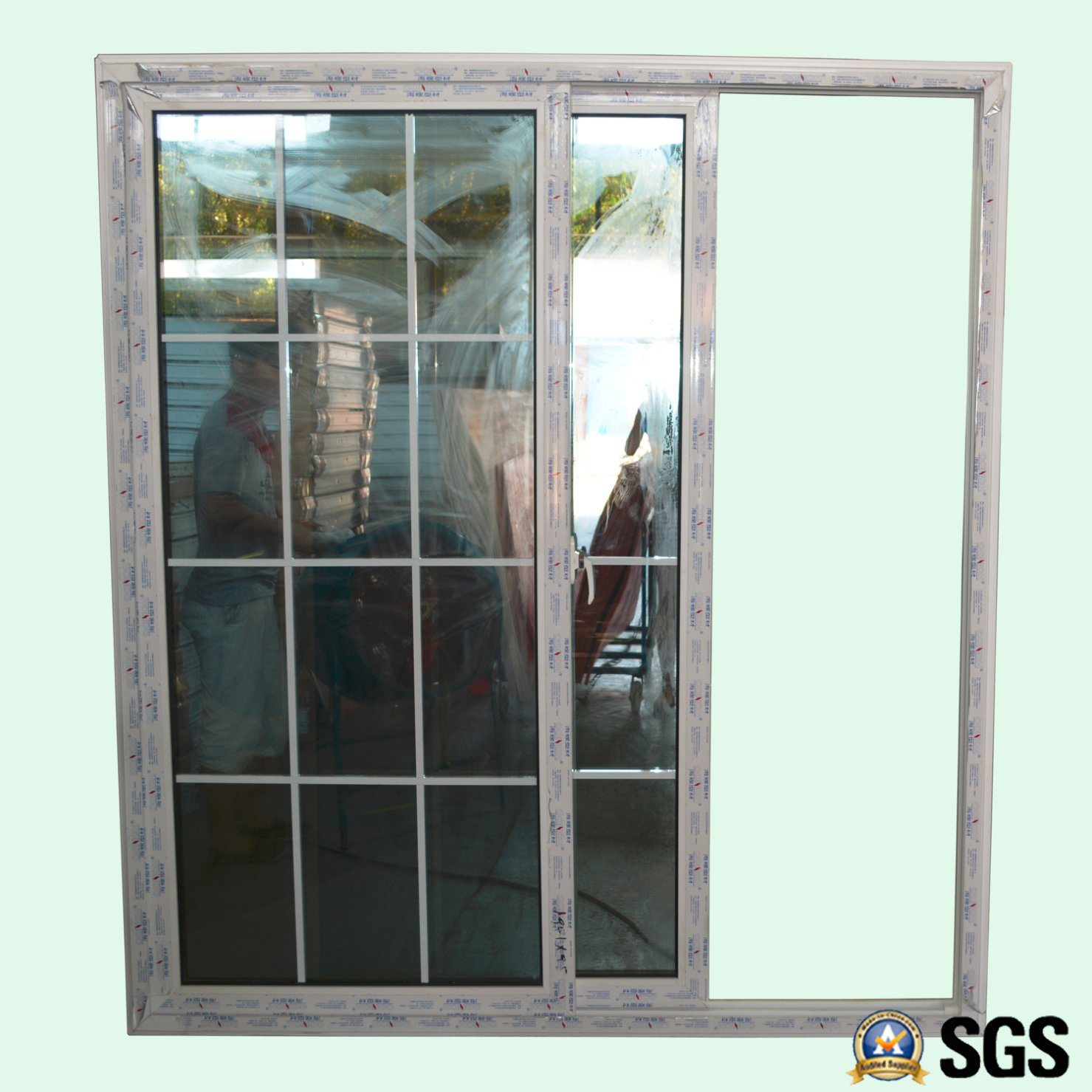 China Good Quality Double Glass with Grid White Colour UPVC Profile Sliding Door Door Window K02084 - China Window UPVC Window & China Good Quality Double Glass with Grid White Colour UPVC Profile ...