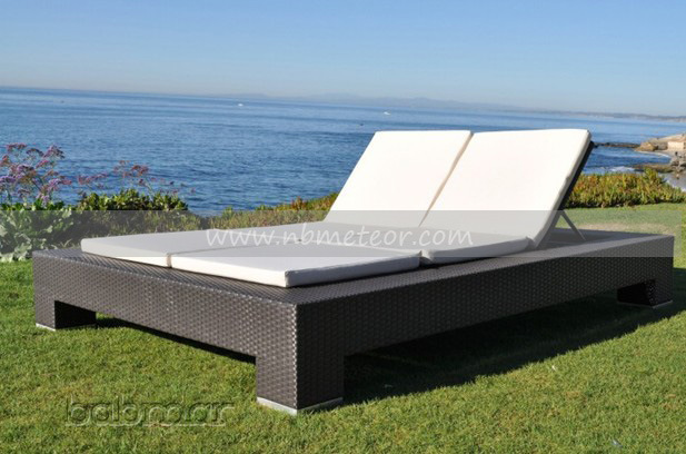 Mtc-083 Outdoor Wicker Chaise Double Sun Lounge Rattan Sofa Bed