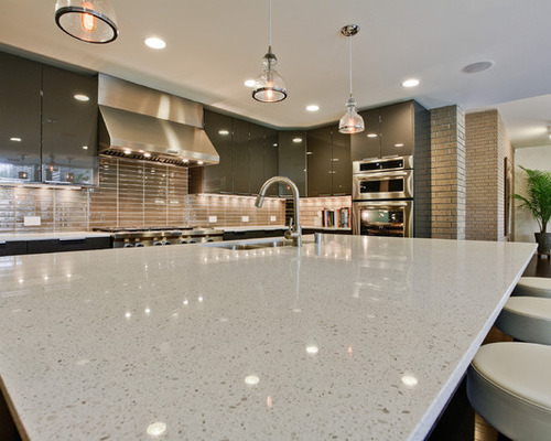 Sparkle White Polished Quartz Countertop For Kitchen Countertops