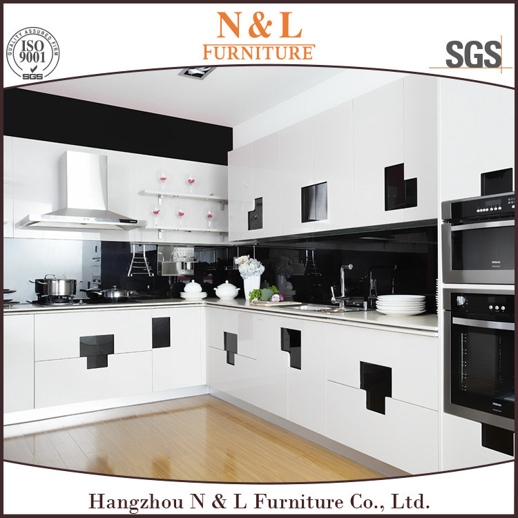 China White Color High Gloss Lacquer MDF Wood Kitchen
