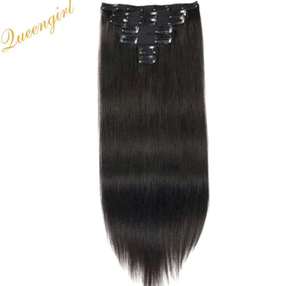 China Cheap Clip In Human Hair Piece Natural Straight Virgin