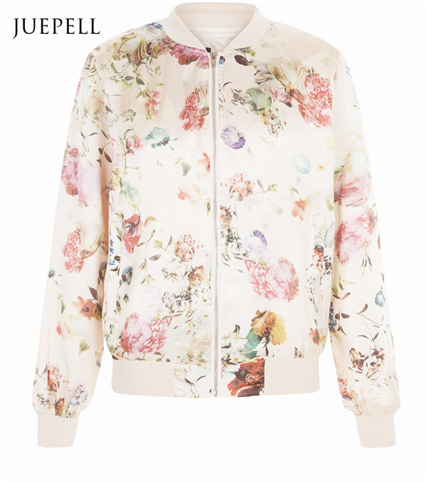 China Pink Floral Print Women Bomber Jacket China Floral Jacket