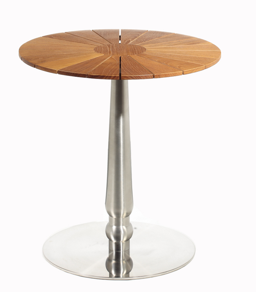 China Round Teak Wood Stainless Steel Patio Table Bar