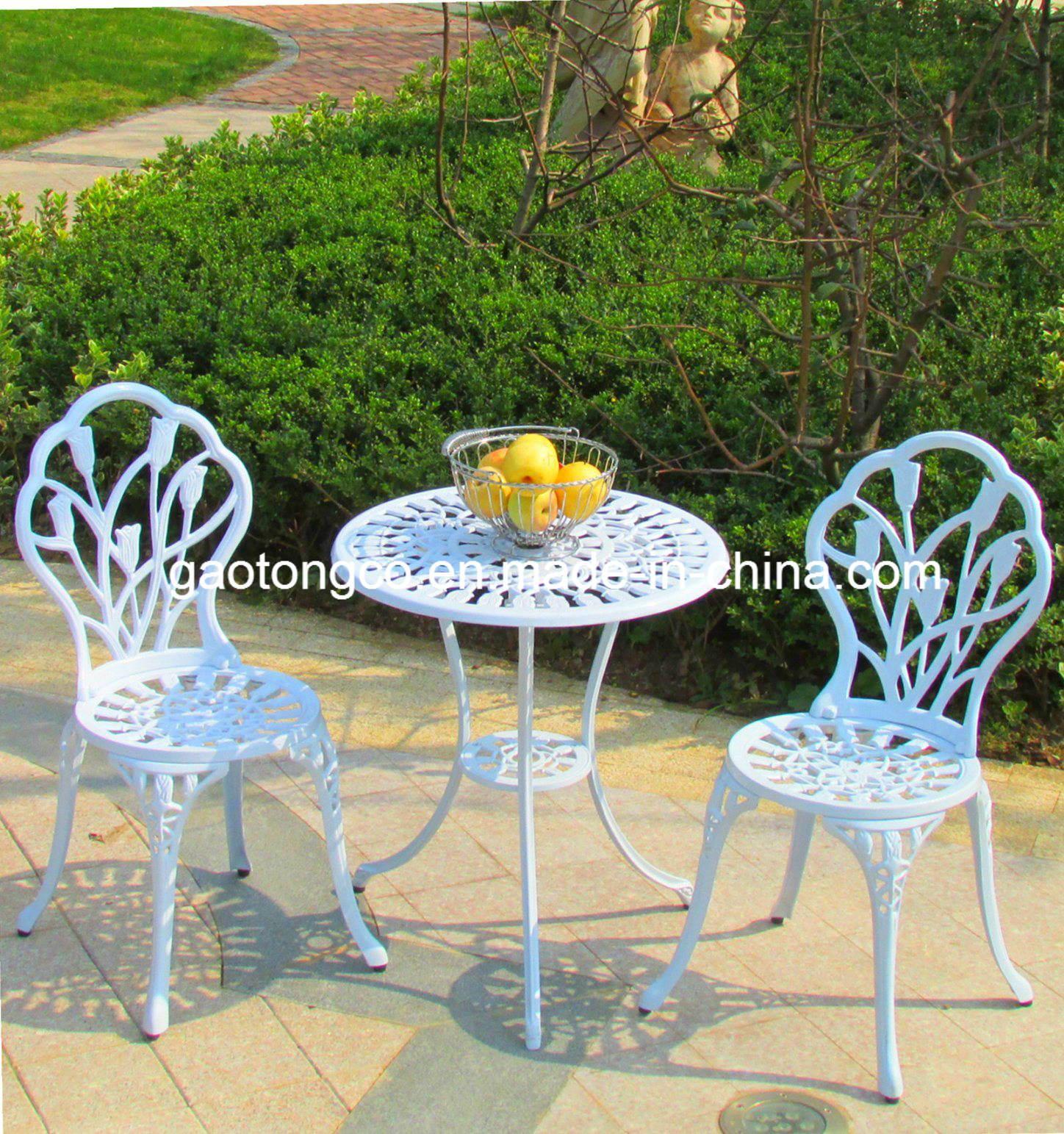 China Die Cast Aluminum Outdoor Patio Furniture Rose 3 Piece Bistro