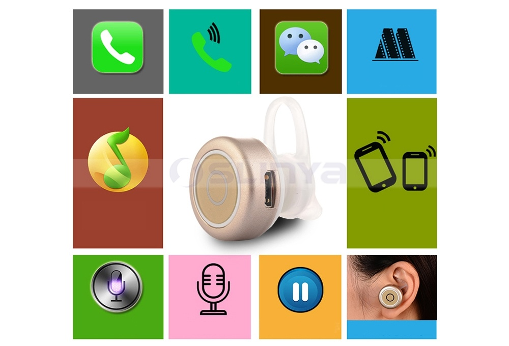 Hi-End Super Mini Wireless Hidden Invisible Bluetooth Earphone for Samsung S6 S7 Edge iPhone 6s Plus