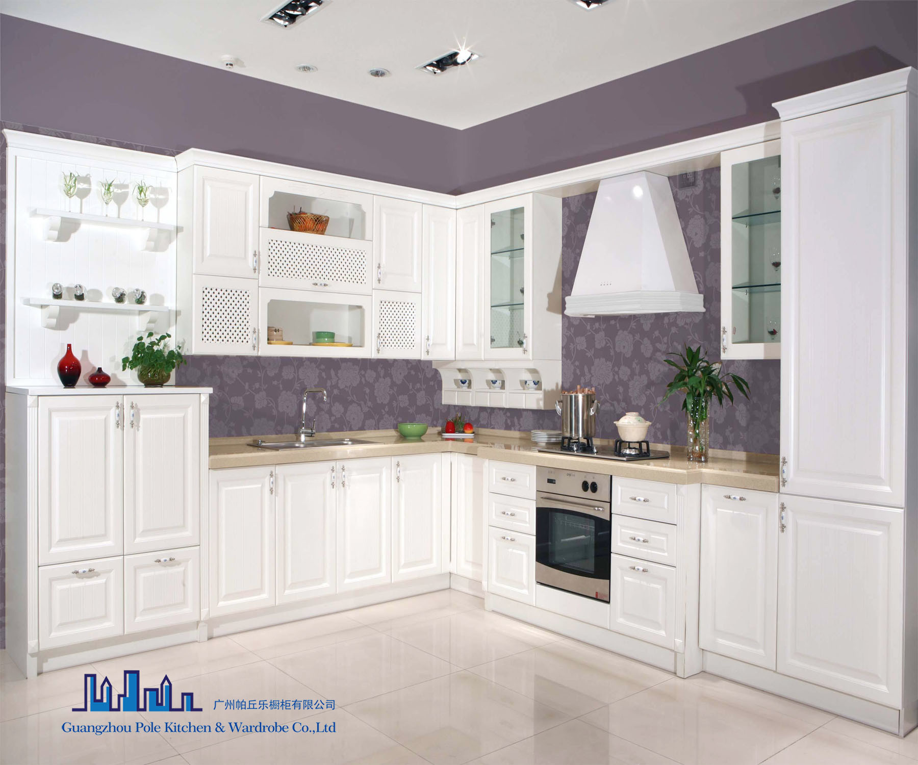 China Pole White L Shape PVC Kitchen Cabinet - China Kitchen ...