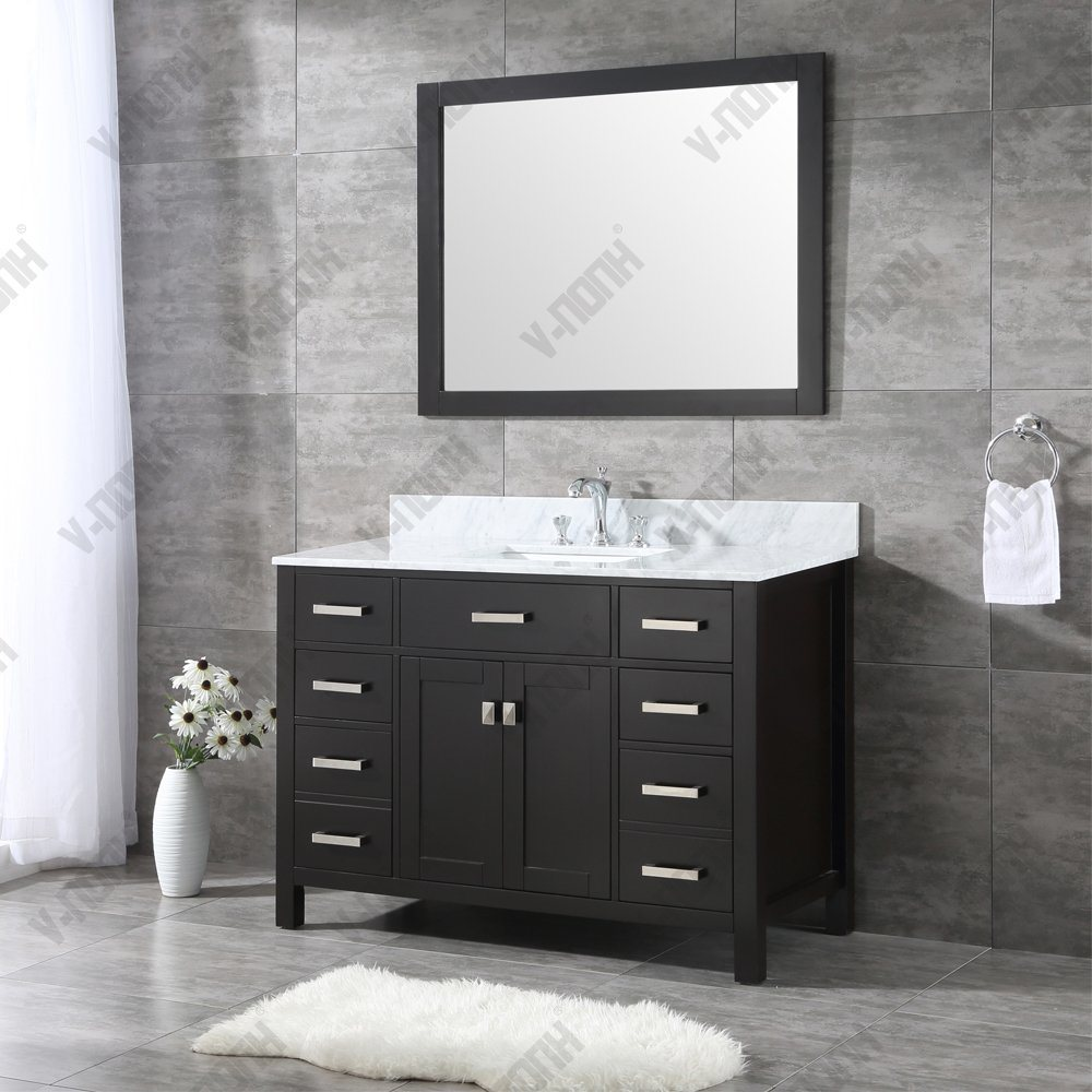 48 Inch Black Modern Bathroom Vanity