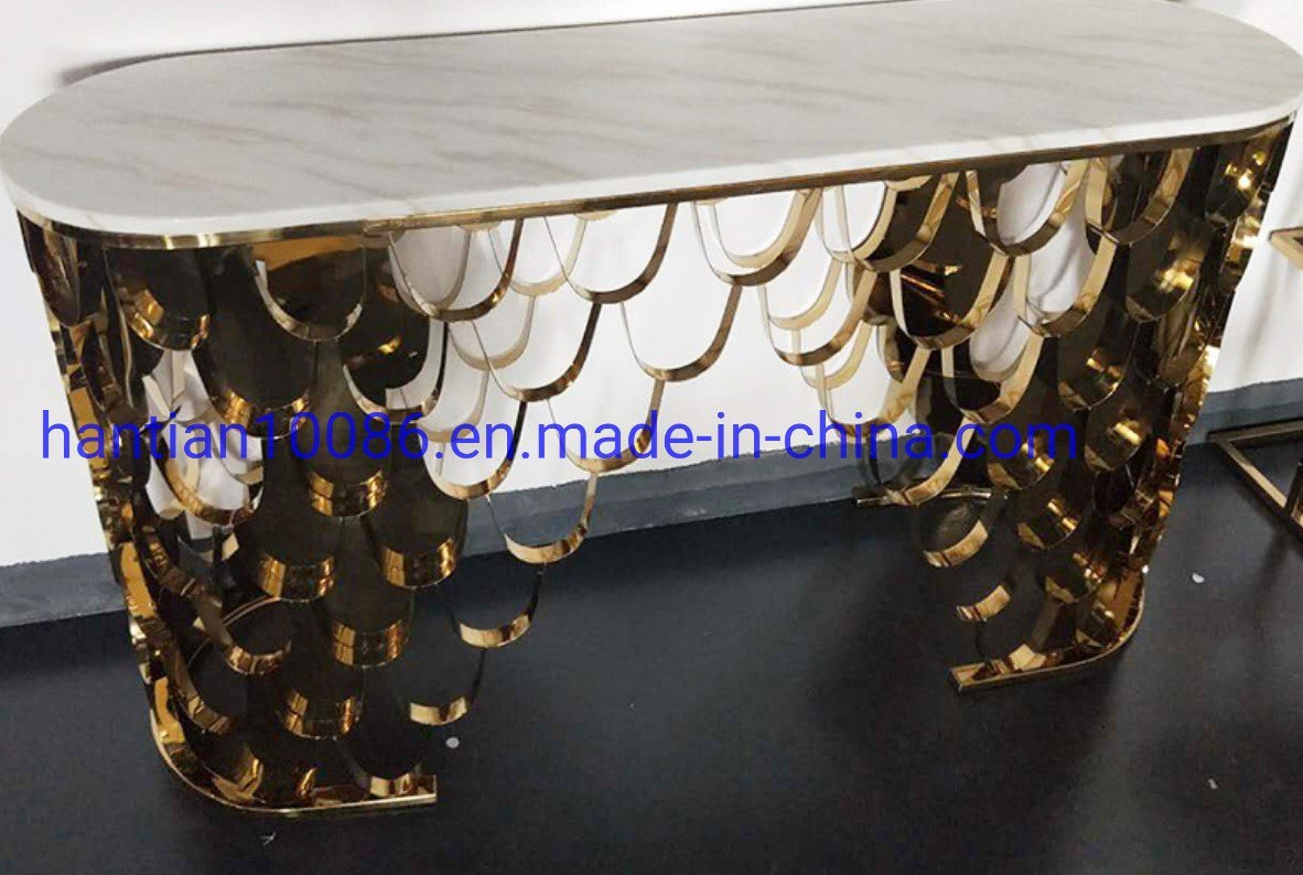 China Night Club Entryway Hallway Marble Wedding Console Table With Gold Stainless Steel Legs China Coffee Table Wedding Table