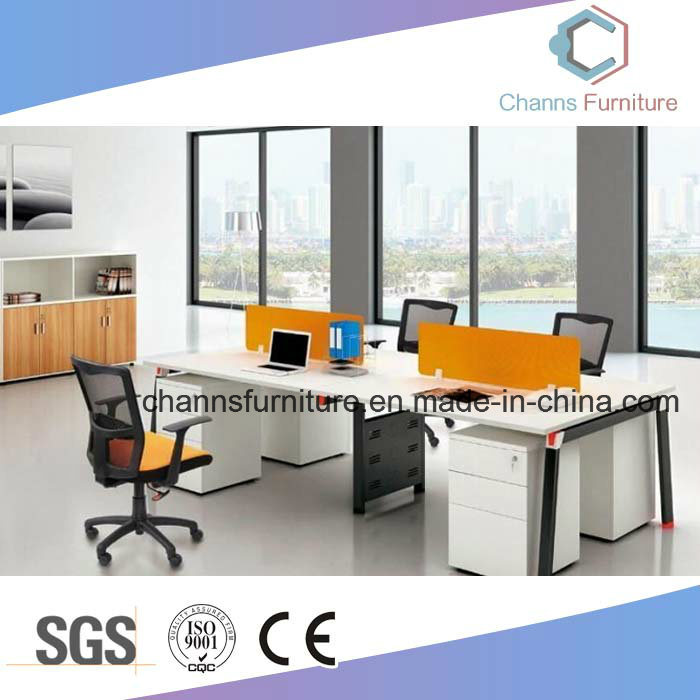 China Orange Double Partition Office Table Wooden Computer Desk