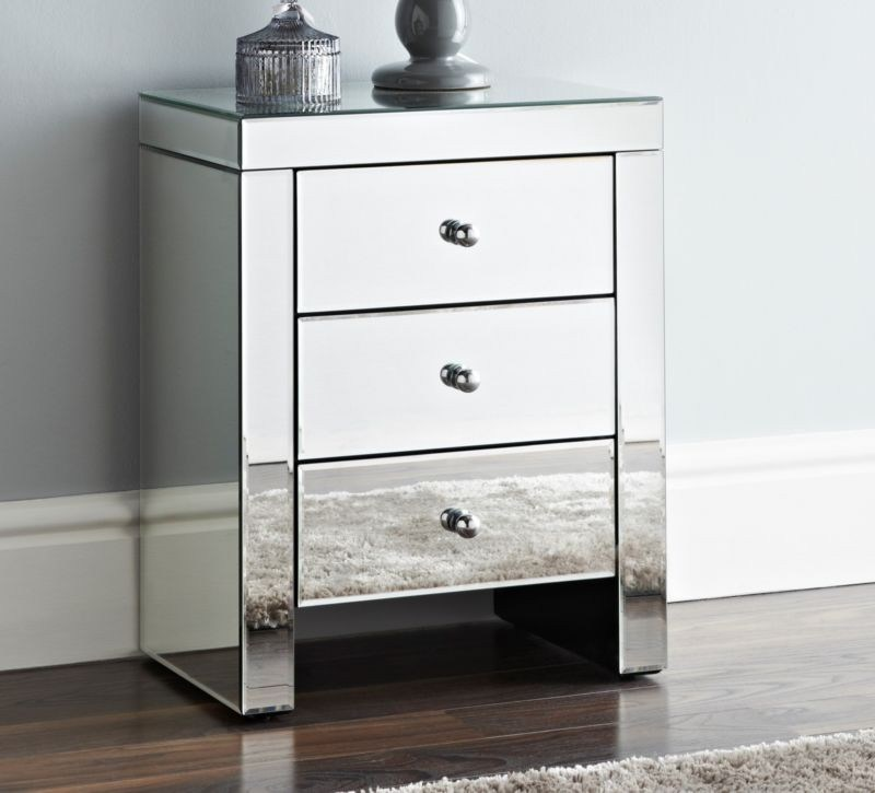 Hot Item Bedroom Furniture Mirrored Bedside Table With 3 Drawers