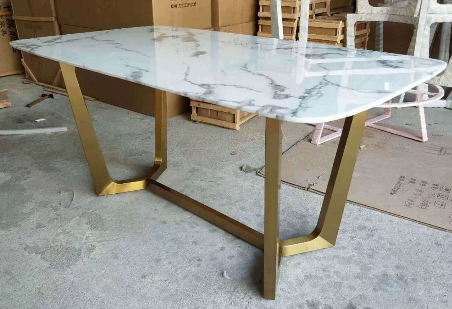 China Modern White Grey Marble Top Dining Table Stainless Steel - Grey marble top dining table