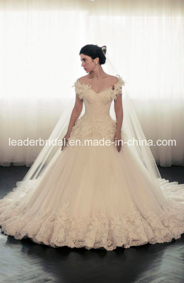 off Shoulder Lace Wedding Dress Fashion Vestidos Luxury Bridal Ball Gown Yasmine Ld11530