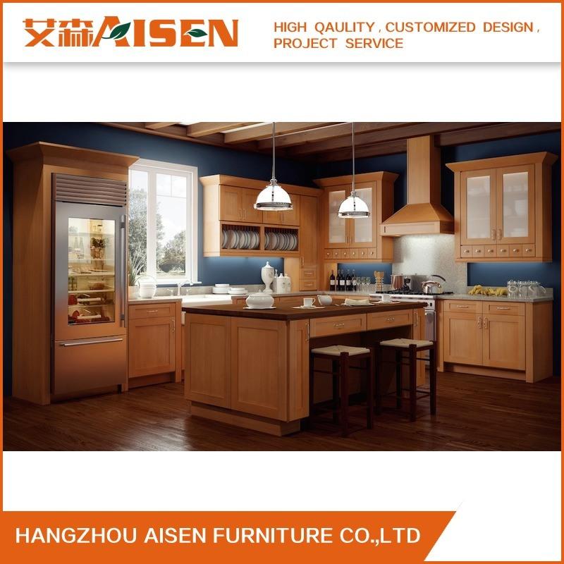 China Oak Wood Classic Solid Wood Kitchen Cabinet - China ...