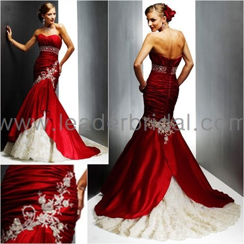 4fd2b099fde Strapless Red Taffeta Bridal Wedding Dress Sweetheart Gold Lace Mermaid Wedding  Gown (C41)
