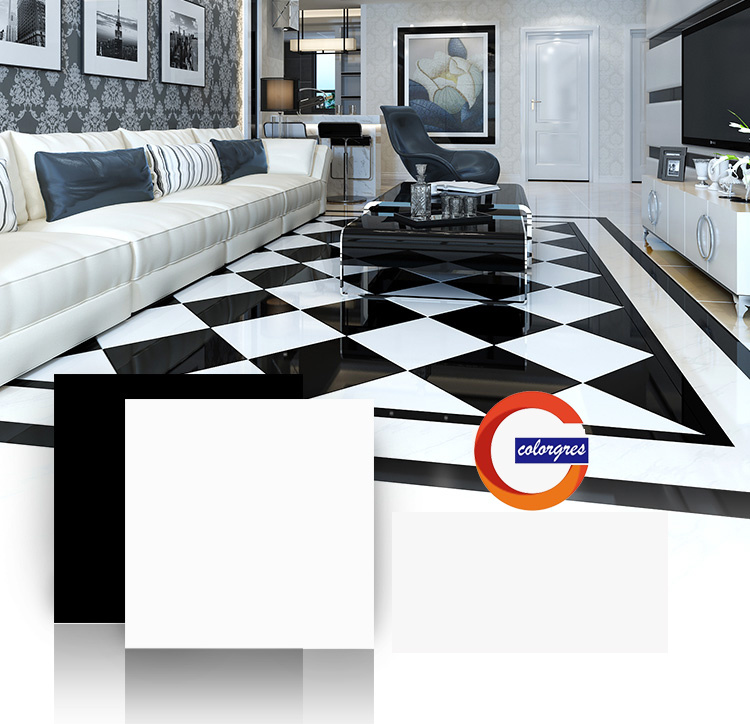 China Building Material Black And White Polished Porcelain Floor