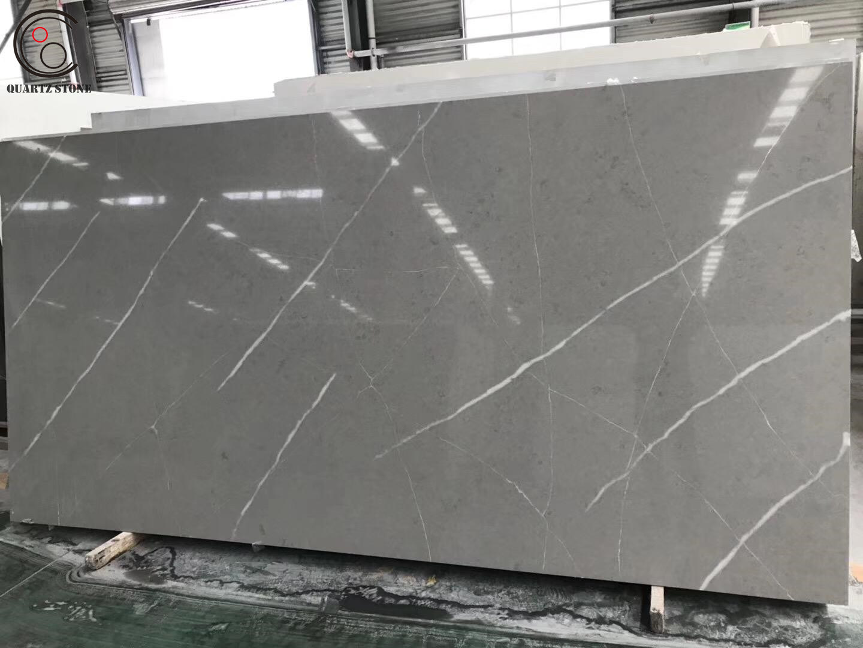 China Dark Grey Calacatta Marble Quartz Stone Bench Top Countertop China Quartz Stone Quartz Slab