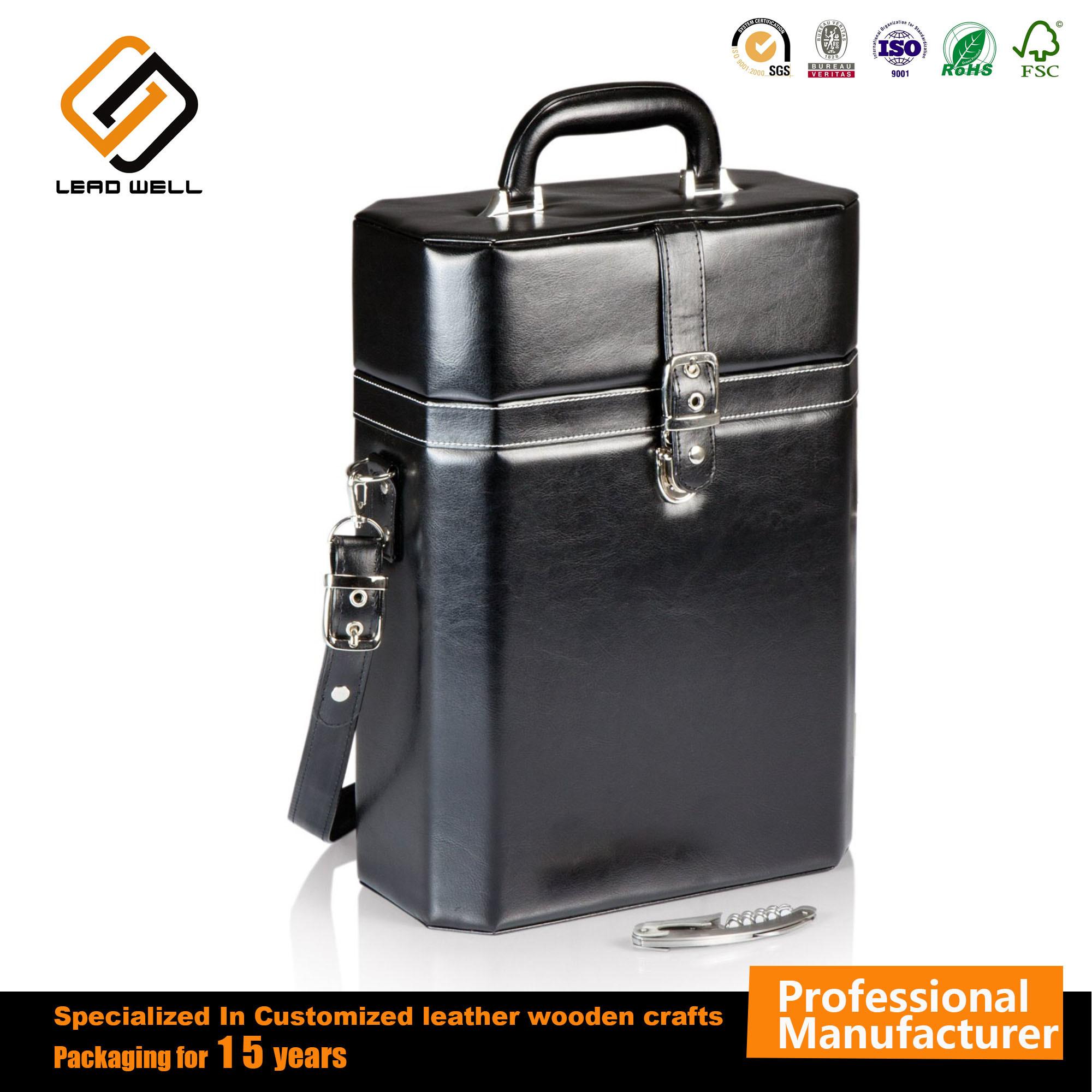 China Fashion Pu Leather Empty Double Wine Box Suitcase Bag
