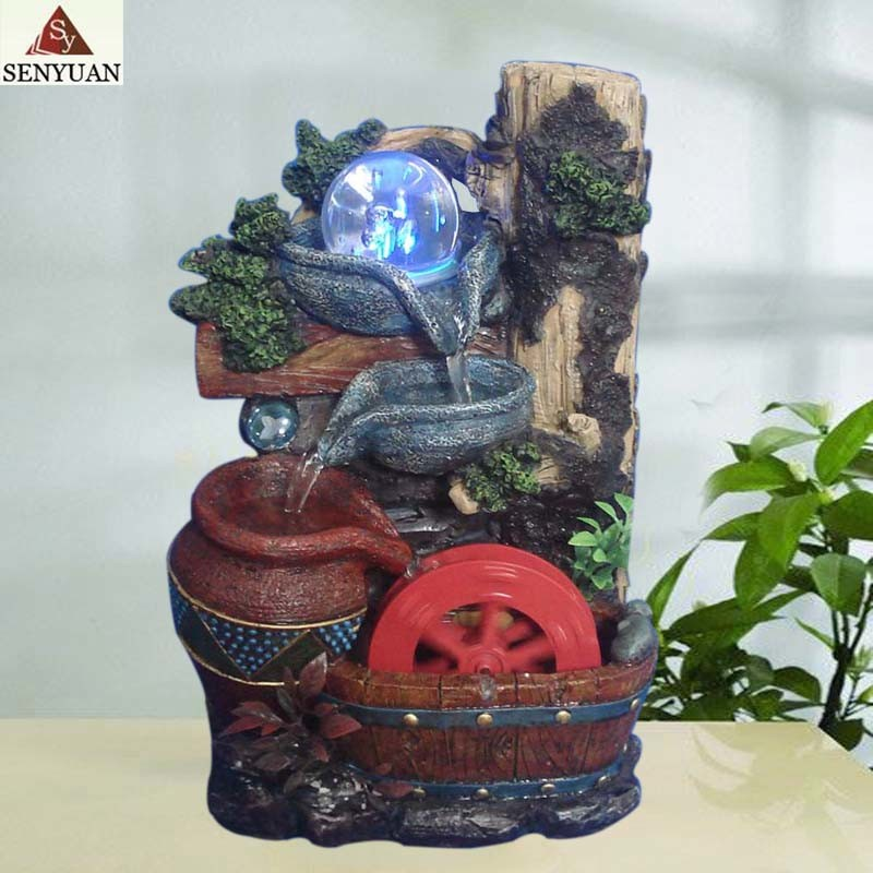 China Polyresin Indoor Water Fountain With Water Wheel Home Decorations Photos Pictures Made In China Com