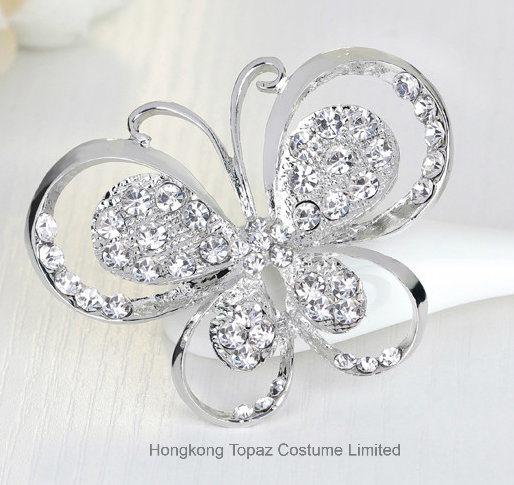 New Butterfly Brooch Vintage Broches Jewelry Pin And Brooche For The Women  Scarf Rhinestone Brooch Jewelry (BR 16)