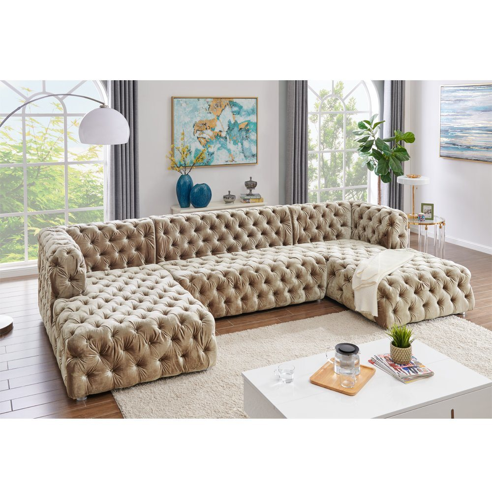 China American Style Sofa Velvet Fabric