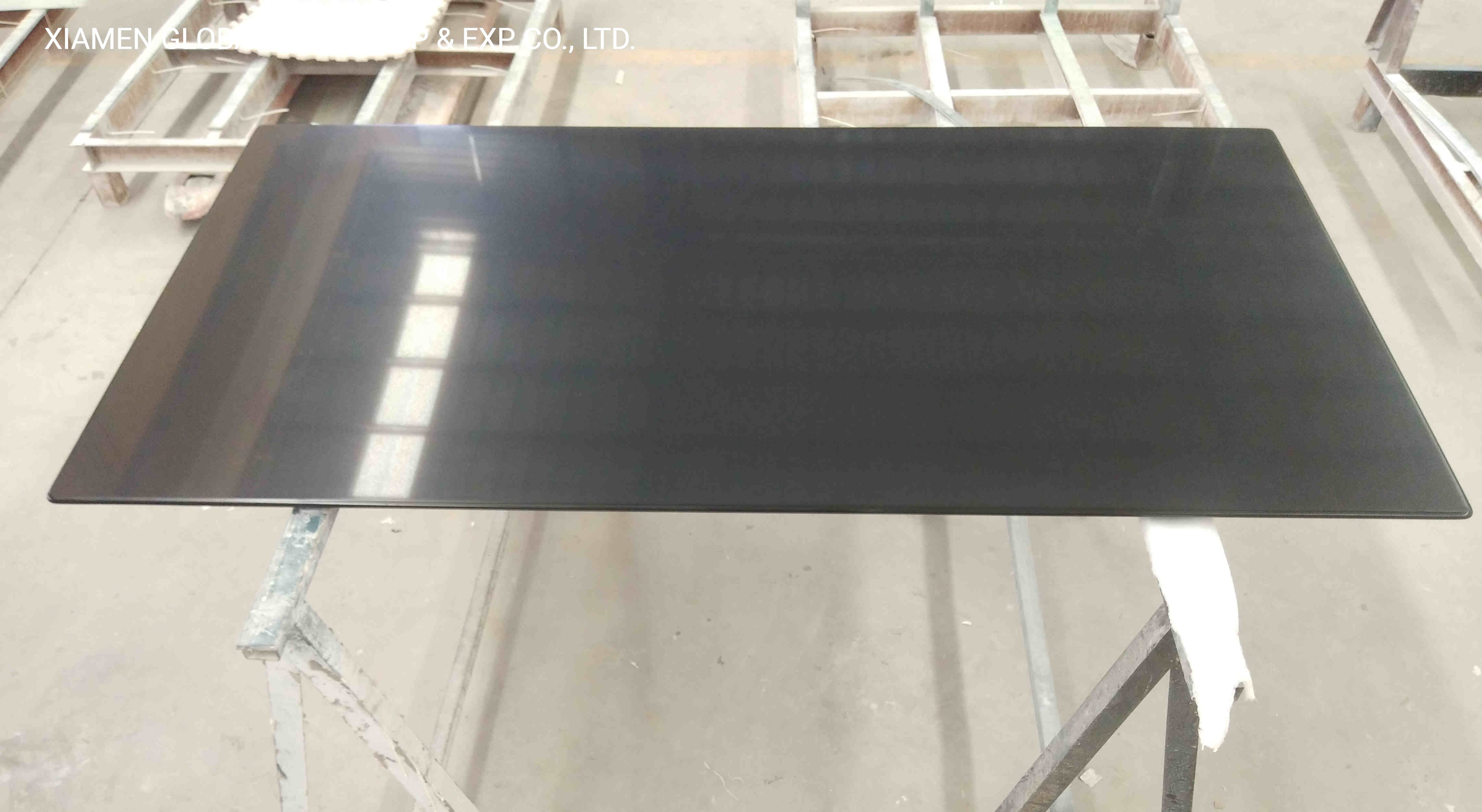 China Custom Engineering Pure Black Quartz Stone Kitchen Island Tops Dining Table For Multi Family Living Room Projects China Kitchen Countertop Stone Countertop