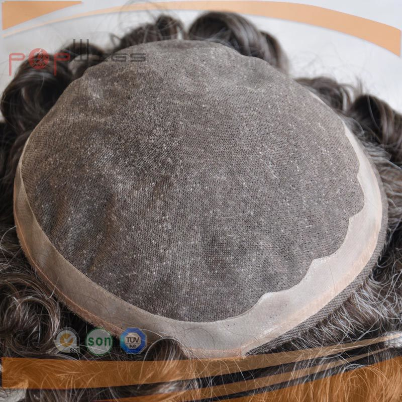 Full Human Hair Grey Color Mono Base PU Border Toupee pictures & photos