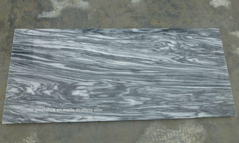 China Black Mountain White Marble Slabs for Tiles/Countertop/Vanity ...
